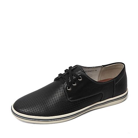 Belle/百丽夏季专柜同款黑色牛皮革男皮鞋38908BM6
