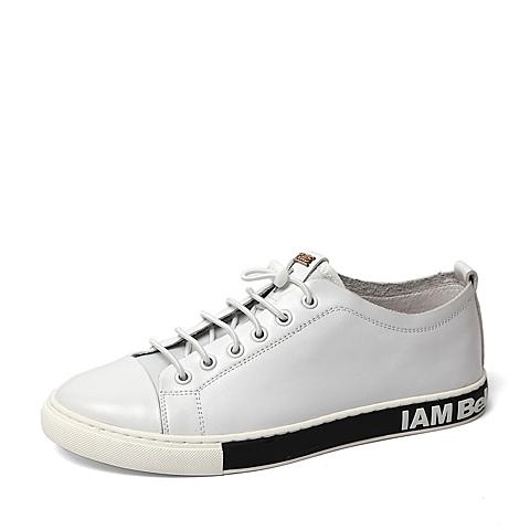 Belle/百丽夏季专柜同款白色牛皮革男休闲鞋4LQ01BM6