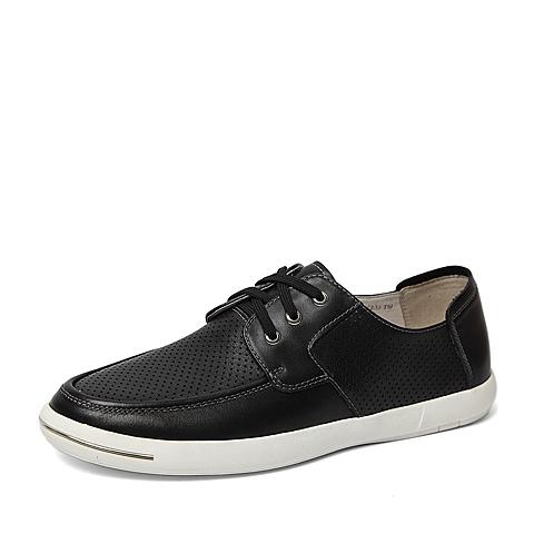 Belle/百丽2016专柜同款夏季黑色牛皮革男皮鞋B2H10BM6