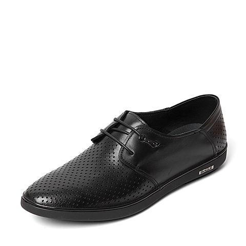 Belle/百丽夏季专柜同款黑色牛皮革男皮鞋4KQ01BM6