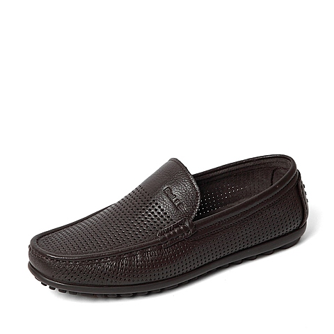 Belle/百丽夏季专柜同款啡色荔纹牛皮革男皮鞋单鞋36F05BM6