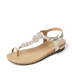 Belle/百丽夏季专柜同款金色羊皮女凉鞋3DSF6BL6