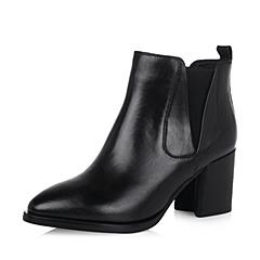 Belle/百丽秋新品黑色牛皮时尚女短靴8-H20CD6