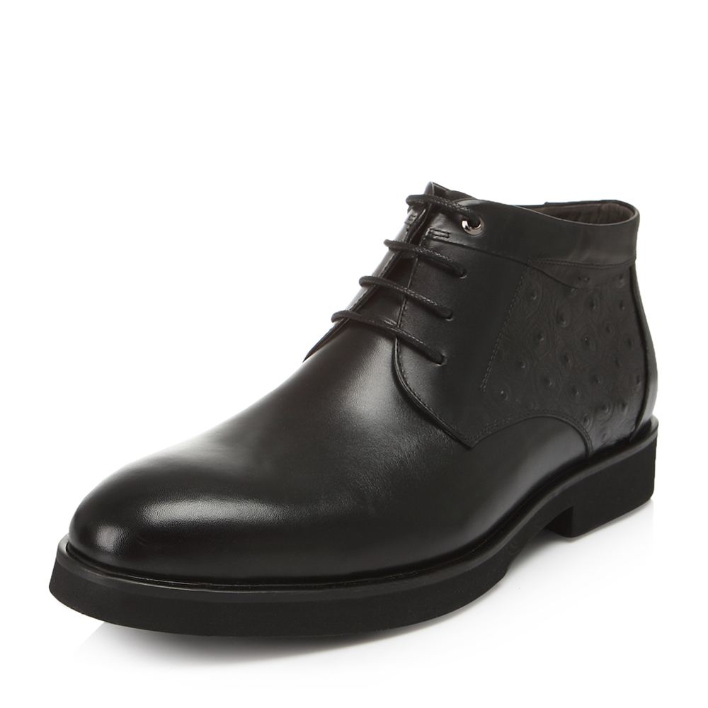 Belle/百丽冬专柜同款黑色牛皮男皮靴4PW01DD6