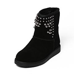 Belle/百丽冬季专柜同款黑色二层牛皮女中靴(假毛里)Q5P2DDZ6