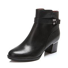Belle/百丽冬专柜同款黑油皮牛皮女短靴BFNA2DD6