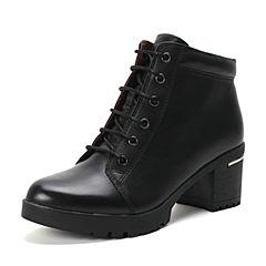Belle/百丽冬季专柜同款黑牛皮女短靴BIP47DD6