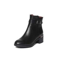 Belle/百丽冬季专柜同款黑油皮牛皮女短靴BJH43DD6