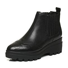 Belle/百丽冬季黑专柜同款油皮牛皮女短靴BJU45DD6