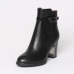 Belle/百丽冬季专柜同款黑油皮牛皮女短靴BMG42DD6