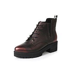 Belle/百丽冬季专柜同款酒红擦色牛皮女短靴Q5W1DDD6