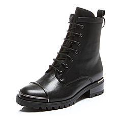 Belle/百丽冬专柜同款黑油皮牛皮女短靴BLQ41DD6