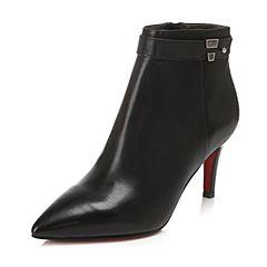 Belle/百丽冬季专柜同款黑油皮小牛皮女短靴BMW45DD6