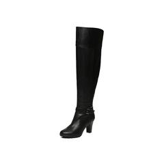 Belle/百丽冬季专柜同款黑油皮牛皮革女皮靴BHX80DC6
