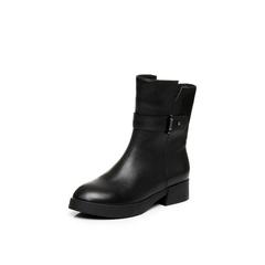 Belle/百丽冬季专柜同款打蜡牛皮女中靴Q5J1DDZ6