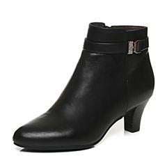 Belle/百丽冬季专柜同款黑色油皮牛皮革女皮靴3EKA9DD6