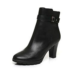 Belle/百丽冬季专柜同款黑油皮牛皮革女皮靴BHX45DD6