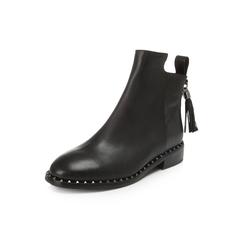 Belle/百丽冬季专柜同款黑油皮牛皮女短靴BKD43DD6
