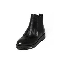 Belle/百丽冬季专柜同款黑油皮牛皮女短靴BKM42DD6