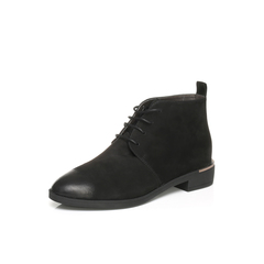 Belle/百丽冬季专柜同款黑磨砂牛皮革女皮靴BMT46DD6