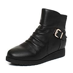 Belle/百丽冬季专柜同款黑色羊皮圆头皮带扣女短靴(绒里)Q5A1DDD6