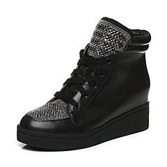 Belle/百丽冬季专柜同款牛皮革/绒布女休闲靴Q5E1DDD6