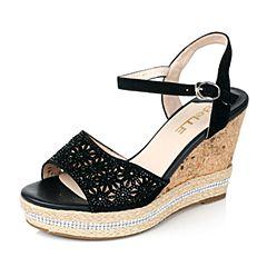 Belle/百丽夏季专柜同款时尚闪钻坡跟女凉鞋Q2M1DBL6
