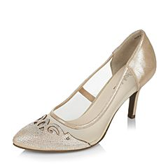Belle/百丽春季专柜同款浅金/黄优雅女人山羊皮女单鞋3V3C2AQ6