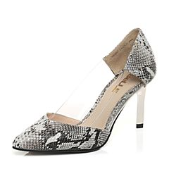 Belle/百丽春季专柜同款灰黑/白优雅尖头猪皮女单鞋3Z4D9AQ6
