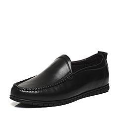Belle/百丽春专柜同款黑色牛皮男休闲鞋活力舒适乐福鞋4TS01AM7