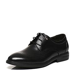 Belle/百丽春专柜同款黑色牛皮雕花布洛克风商务男皮鞋4TT11AM7