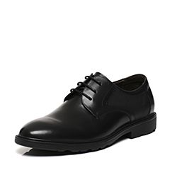 Belle/百丽春专柜同款黑色牛皮革男皮鞋4TR01AM7