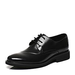 Belle/百丽2017春专柜同款黑色时尚正装牛皮男休闲鞋4TU01AM7