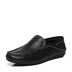 Belle/百丽春专柜同款黑色牛皮革男休闲鞋豆豆鞋3LQ01AM7