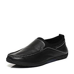 Belle/百丽春专柜同款黑色牛皮套脚男休闲鞋4TX01AM7