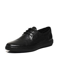 Belle/百丽春专柜同款黑色牛皮舒适平跟系带男休闲鞋4SV11AM7
