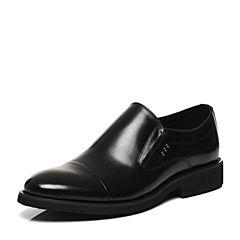 Belle/百丽2017春黑色商务正装牛皮男皮鞋21302AM7