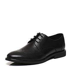 Belle/百丽2017春黑色牛皮革男皮鞋21601AM7