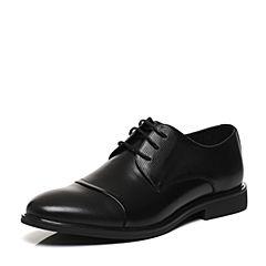 Belle/百丽2017春黑色牛皮革男皮鞋21602AM7