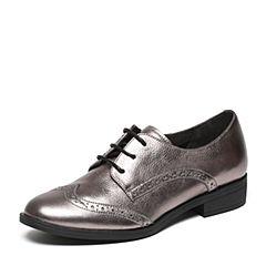 Belle/百丽春专柜同款灰荔纹牛皮革女皮鞋BLS20AM7