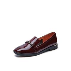 Belle/百丽春专柜同款酒红时尚英伦漆皮牛皮女单鞋BLN28AM7
