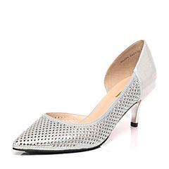 Belle/百丽春季专柜同款银色贴膜PU尖头细跟女凉鞋BGAF4AK7(领红包更优惠)