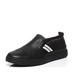 Belle/百丽春季专柜同款黑色牛皮满帮男休闲鞋4UF01AM7