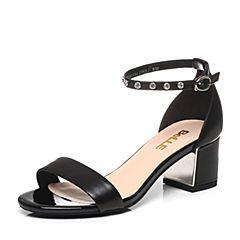 Belle/百丽2017夏专柜同款黑色羊皮粗跟钻饰女凉鞋BLAA4BL7