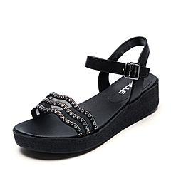 Belle/百丽夏专柜同款黑色厚底钻饰女凉鞋BNL38BL7
