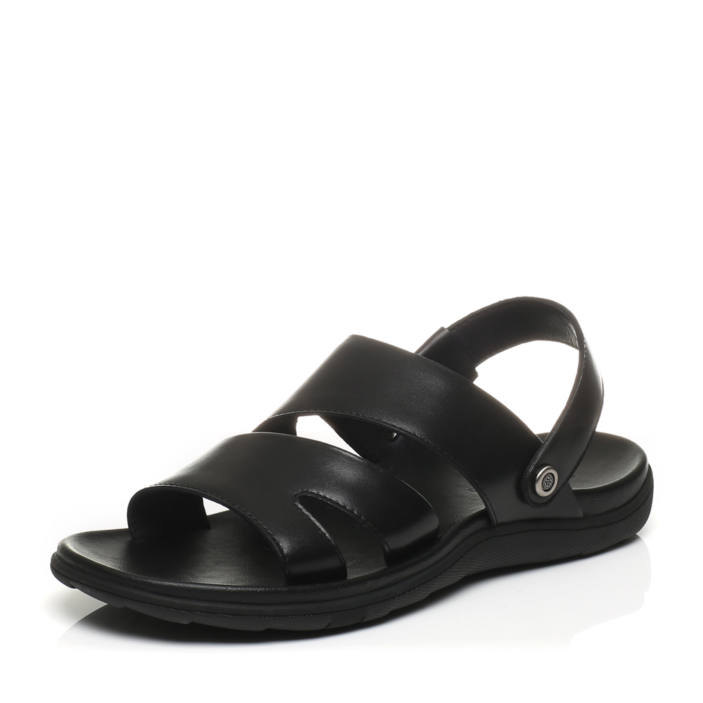 Belle/百丽2017夏季专柜同款黑色休闲露趾沙滩鞋男凉鞋4VU01BL7