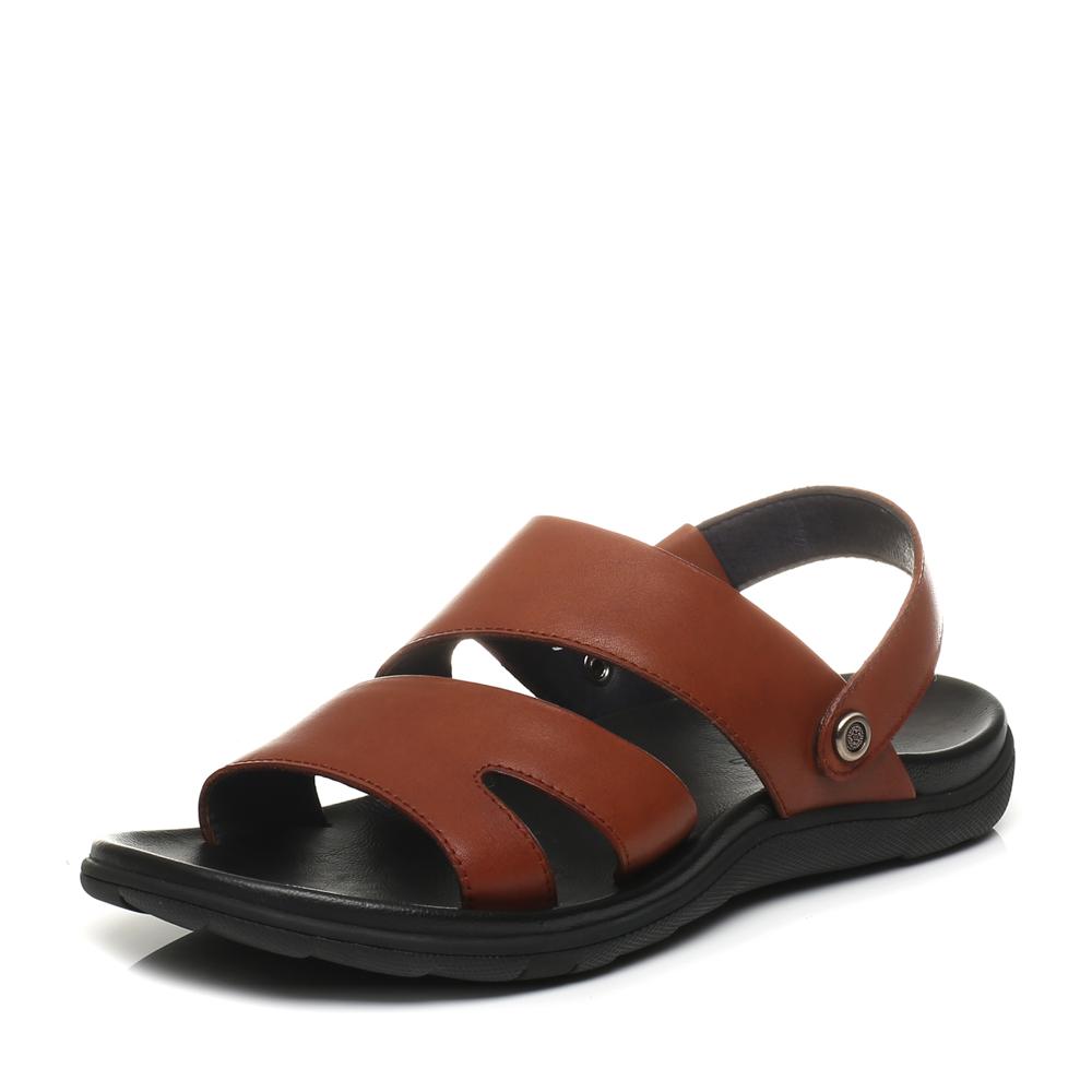 Belle/百丽2017夏季专柜同款棕色休闲露趾沙滩鞋男凉鞋4VU01BL7
