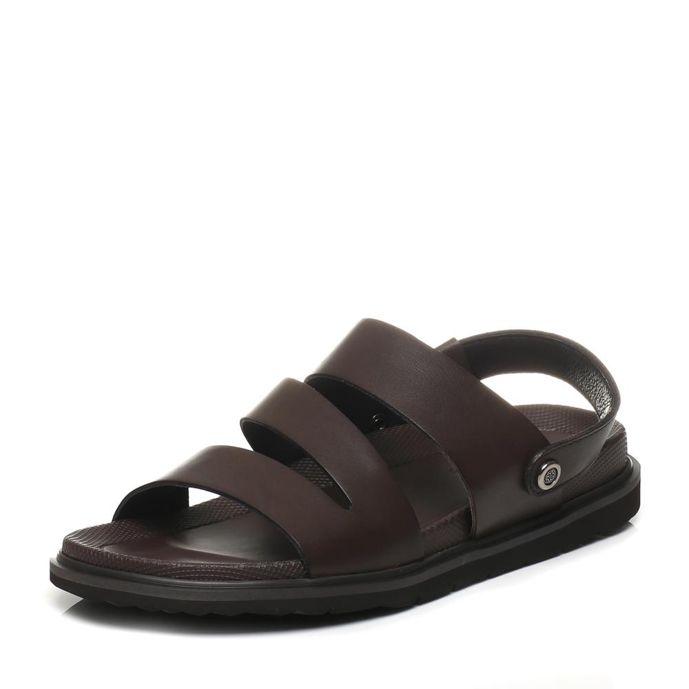 Belle/百丽2017夏季专柜同款棕色牛皮休闲舒适男凉鞋沙滩鞋4VT01BL7