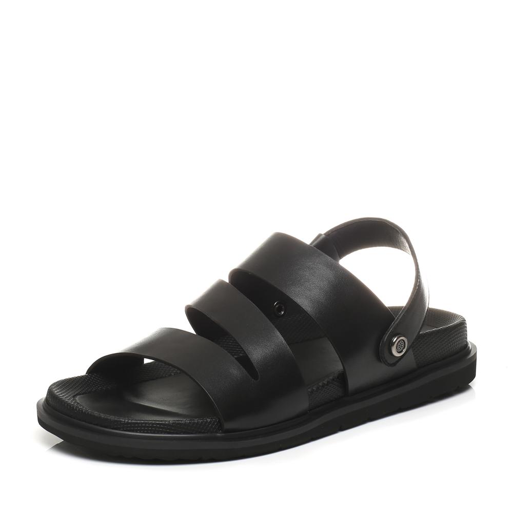 Belle/百丽2017夏季专柜同款黑色牛皮休闲舒适男凉鞋沙滩鞋4VT01BL7
