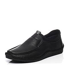 Belle/百丽春季专柜同款牛皮套脚舒适平跟男休闲鞋4VB01AM7
